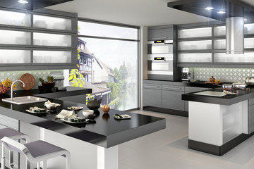 Kitchen accented in black