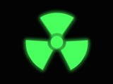 3d render of a glowing green radioactivity sign