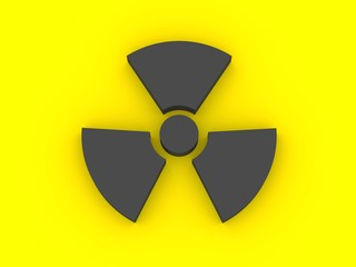 3d render of a radioactivity sign black on yellow