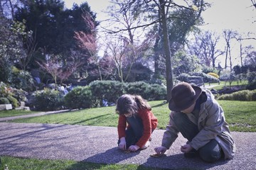 Two children playing in the park