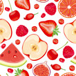 Seamless pattern of red fruits and berries
