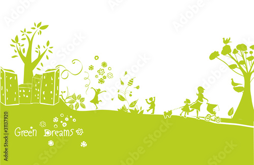 green dreams, a happy green landscape background
