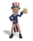 Uncle Sam Enjoying a Beer poster