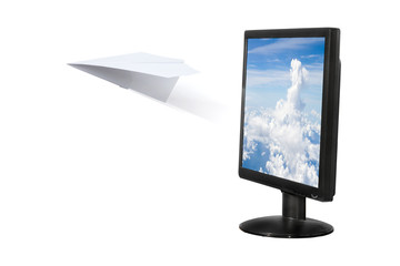 Paper airplane out of the computer screen