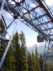 Cable car up Sulphur Mountain in Banff Albert Canada
