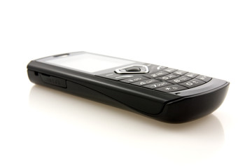 black mobile phone with  reflection on white background
