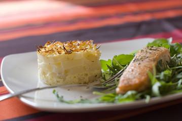 Gratin de christophine (chayote) avec pavé de saumon