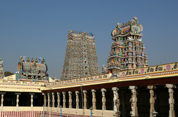 Inside of Meenakshi hindu temple in Madurai, Tamil Nadu