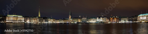 Night panorama of the Hamburg center from the lake Binnenalster