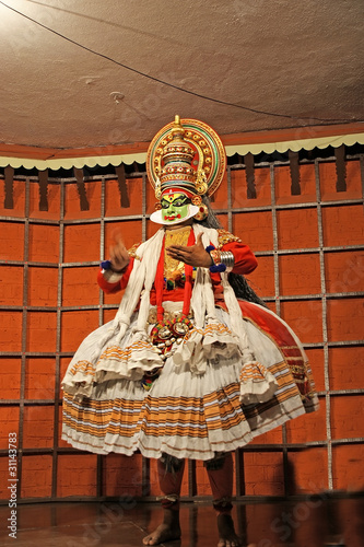 Kathakali tradional dance actor. Kochi (Cochin), India