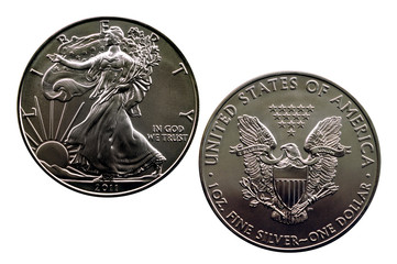 isolated silver eagle 2011 - obverse and reverse