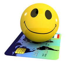 3d Smiley uses a credit card to travel