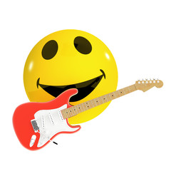 3d Smiley rocks out on his electric guitar