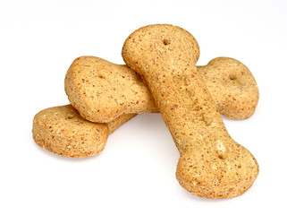 Pile of bone-shaped dog biscuits