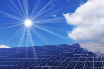 Clean energy generating solar panel and sun