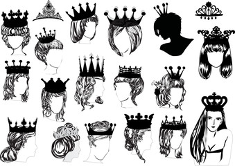 woman heads in crowns collection