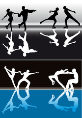 figure skater silhouettes with reflections
