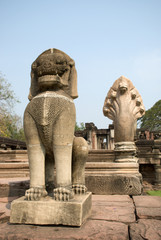 Singh statues at Phimai historical park in Thailand
