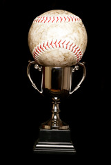 Trophy and softball