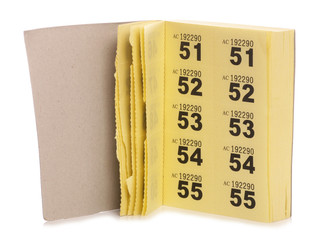yellow raffle ticket book