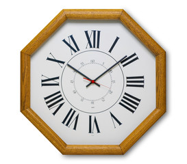 Clock in the shape of an octagon, made out of wood, isolated