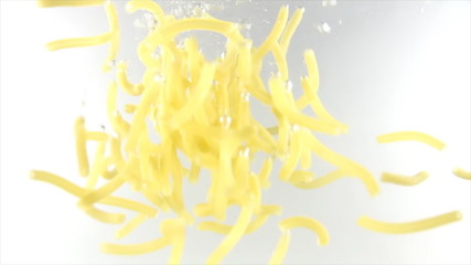 Noodle sink in water emitting bubble