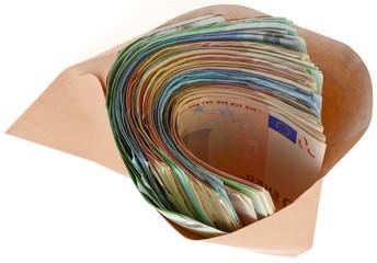 liasse de billets dans enveloppe grise