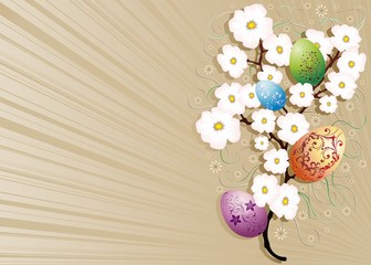 Pasqua e Fiori di Pesco-Easter and Peach Blossoms-Vector