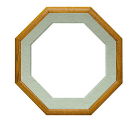 Octagonal shaped wood picture frame, isolated