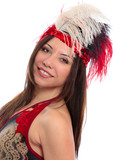 Beautiful woman or showgirl feather headdress poster