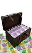 Truhe mit Euro Banknoten