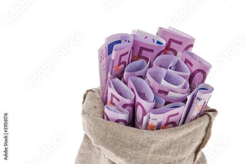 Sack mit vielen Euro Geldscheinen