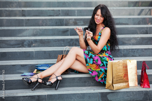 Young shopper on the steps