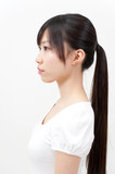 beautiful asian woman with ponytail poster