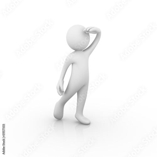 Man looking far way / analyzing / hoping / expecting / waiting