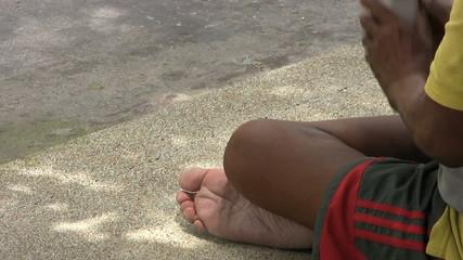 Beggar Receives A Coin