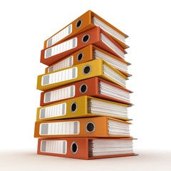 A pile of ring binders isolated on the white background