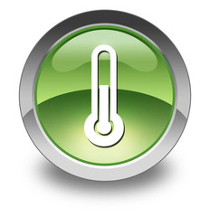 "Green Glossy Pictogram ""Thermometer / Temperature"""