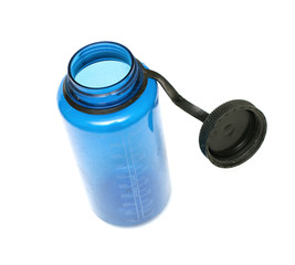 open blue plastic flask