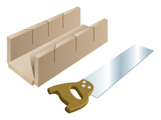 Tenon saw and mitre block for cutting angles