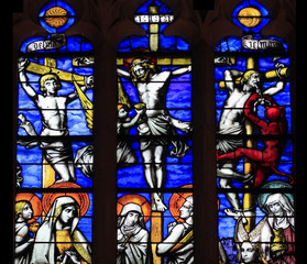 Crucifixion of Jesus, stained glass in Beaune
