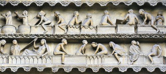 Rising From Death bas relief on Reims cathedral facade