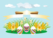 Chickens and eggs. Design.Illustration.Background.