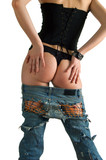 girl in a black corset and blue jeans