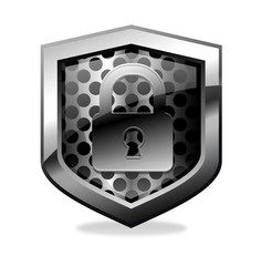 Black secure shield icon