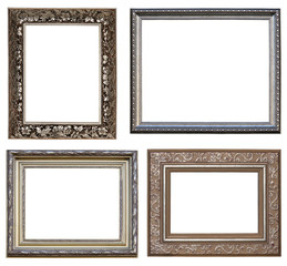 Collection picture silver frames with a decorative pattern