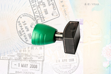 Rubber stamp and immigration stamps
