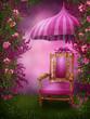 Różowy ogród z krzesłem i parasolem