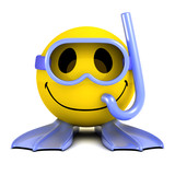 3d Smiley goes swimming with a snorkel