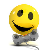 3d Smiley plays a videogame and has fun poster